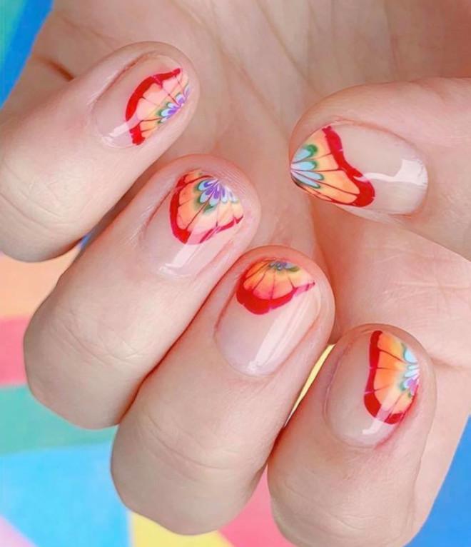 rainbow tie-dye french manicure 8