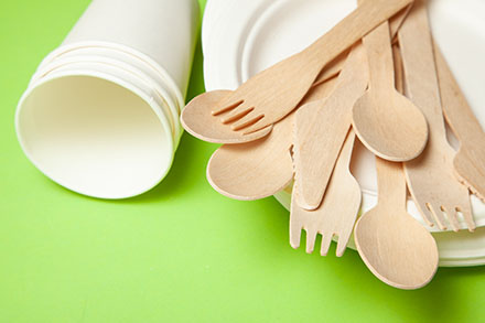 6207393 Eco-friendly disposable utensils made of bamboo wood and