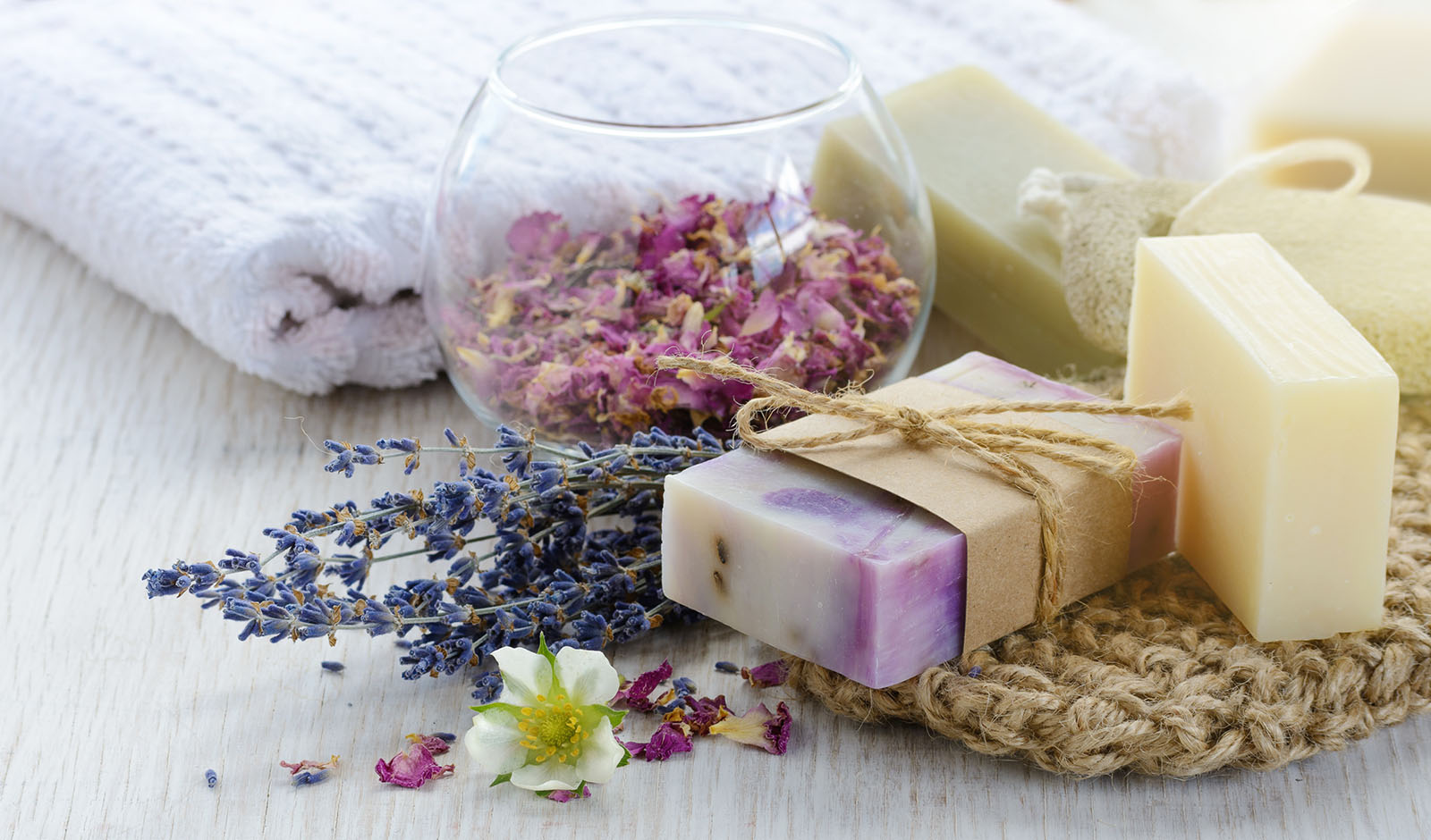 Handmade Soap with bath and spa accessories