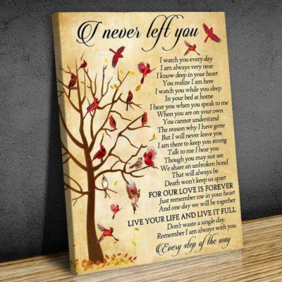 Zalooo Sympathy Canvas Gift Ideas I Never Left You Cardinal Wall Art Decor