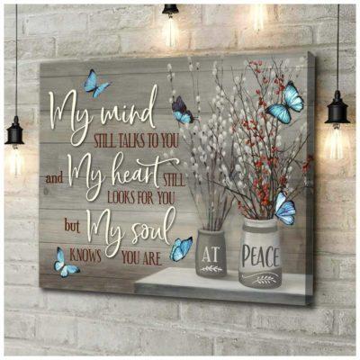 Zalooo Sympathy Canvas Gifts My Mind Butterfly Wall Art Decor
