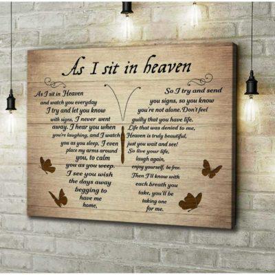 Zalooo Sympathy Canvas Gifts As I Sit In Heaven Butterfly Wall Art Decor