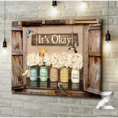 Zalooo Floral Decor Gift Ideas It's Okay To Make Mistakes Hummingbird Canvas Wall Art Decor