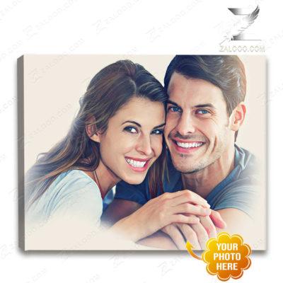 Zalooo Custom Canvas Gift Ideas Couple Portrait, Wedding Portrait Wall Art Decor