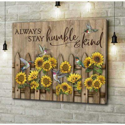 Zalooo Hummingbird Canvas Prints Always Stay Humble And Kind Wall Art Decor - https://zalooo.com