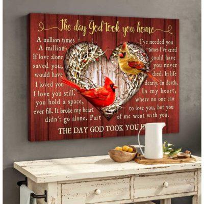 Zalooo Cardinal Canvas The Day God Took You Home Wall Art Decor - https://zalooo.com