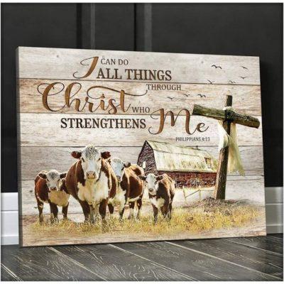Zalooo Housewarming Gifts I Can Do All Things Wall Art Cow Decor
