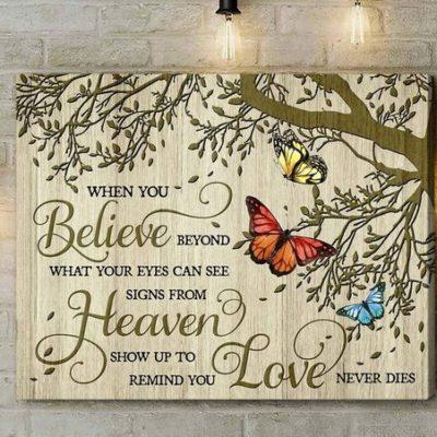 Zalooo Housewarming Gifts When You Believe V3 Wall Art Butterfly Decor