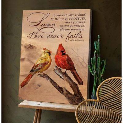Zalooo Housewarming Gifts Love Never Fails Wall Art Cardinal Decor