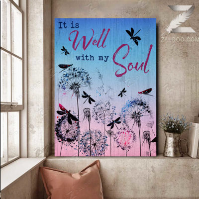 Zalooo Butterfly Best Canvas It Is Well With My Soul Wall Art Floral Decor - zalooo.com