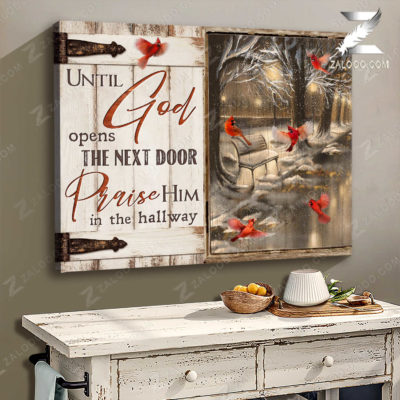 Zalooo Cardinal Canvas Until God Opens The Next Door Wall Art Decor