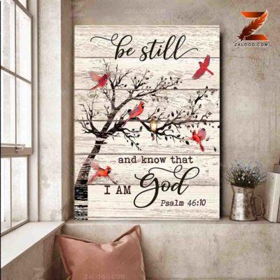 Zalooo Cardinal Canvas Be Still And Know That Wall Art Decor - zalooo.com