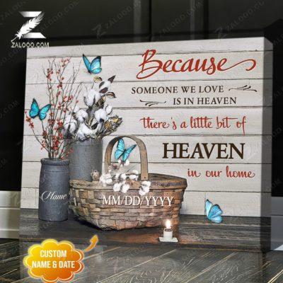 Zalooo Sympathy Canvas Because Someone We Butterfly Wall Art Decor - zalooo.com