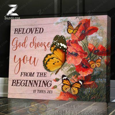 Zalooo Butterfly Canvas Beloved God Chose You Wall Art Decor - zalooo.com