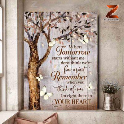Zalooo Sympathy Canvas When Tomorrow Comes Without Me Cardinal Wall Art Decor - zalooo.com