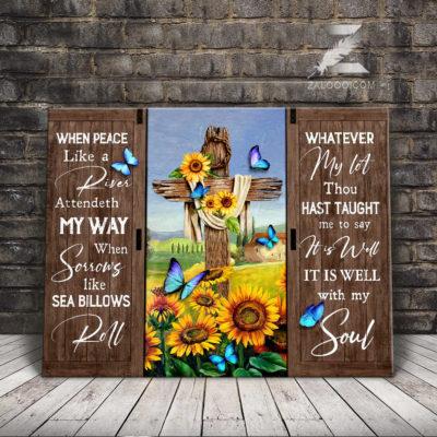 Zalooo Sympathy Canvas When Peace Like River Sunflower Wall Art Decor - zalooo.com