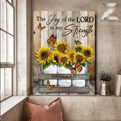 Zalooo Sympathy Canvas The Joy Of The Lord Butterfly Wall Art Decor - zalooo.com