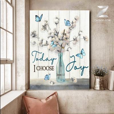 Zalooo Best Canvas Gift Today I Choose Joy Butterfly Wall Art Cotton Flower Decor - zalooo.com