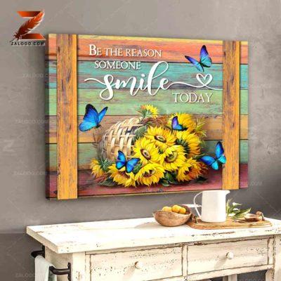 Zalooo Sympathy Canvas Be The Reason Someone Butterfly Wall Art Decor