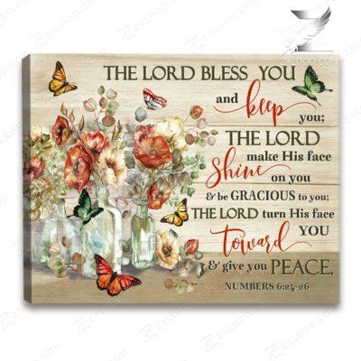 Zalooo Sympathy Canvas The Lord Bless You Butterfly Wall Art Decor - zalooo.com