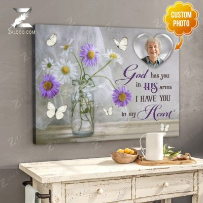 Zalooo Sympathy Canvas God Has You In His Arms Butterfly Wall Art Decor - zalooo.com