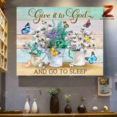 Zalooo Sympathy Canvas Give It To God Butterfly Wall Art Decor - zalooo.com