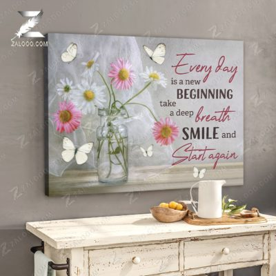 Zalooo Floral Canvas Every Day Is A New Beginning Butterfly Wall Art Decor - zalooo.com
