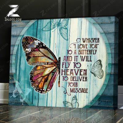 Zalooo Sympathy Canvas Whisper I Love Butterfly You Wall Art Decor - zalooo.com