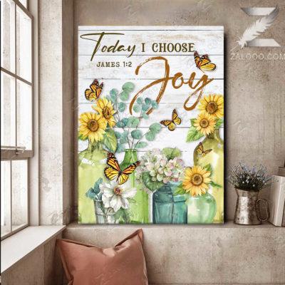 Zalooo Best Canvas Gifts Today I Choose Joy Wall Art Floral Decor - zalooo.com