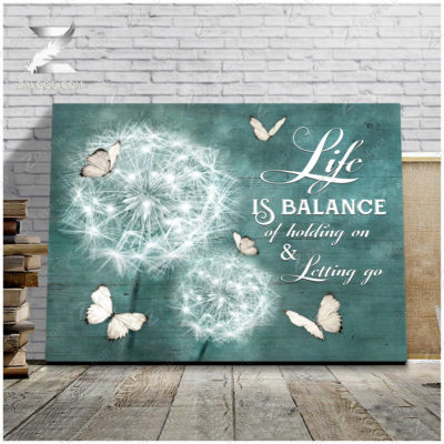 Zalooo Best Canvas Gifts Life Is Balance Of Holding On and Letting Go Wall Art Dandelion Decor