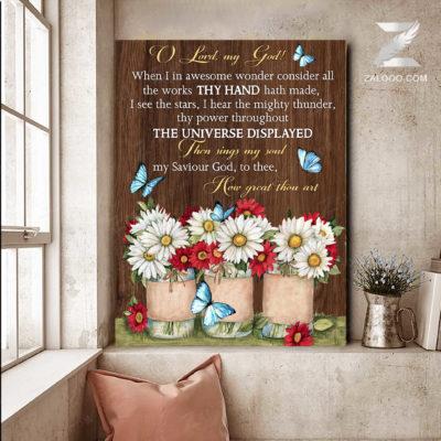 Zalooo Best Canvas Gifts Oh Lord My God Wall Art Floral Decor - zalooo.com