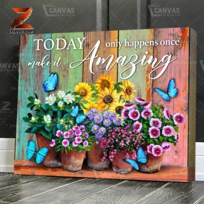 Zalooo Floral Canvas Make It Amazing Butterfly Wall Art Decor - zalooo.com
