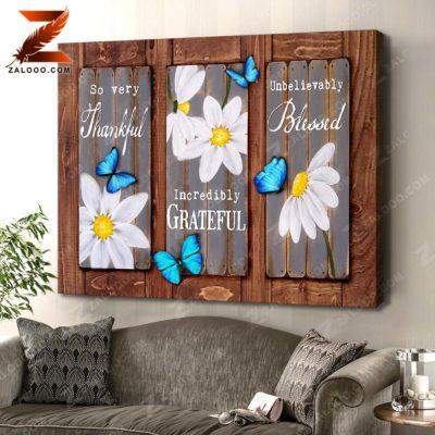 Zalooo Floral Canvas So Very Thankful Butterfly Wall Art Decor - zalooo.com