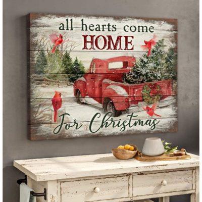 Zalooo Christmas Canvas Gifts All Hearts Come Home Cardinal Wall Art Decor - zalooo.com