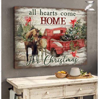 Zalooo Christmas Canvas Gifts All Hearts Come Home Horse Wall Art Decor - zalooo.com