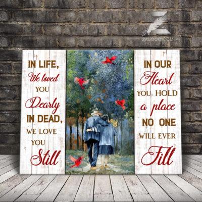 Zalooo Sympathy Canvas In Life We Loved You Dearly Cardinal Wall Art Decor