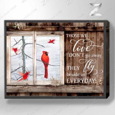 Zalooo Sympathy Canvas Those We Love Don't Go Away Cardinal Wall Art Decor- zalooo.com