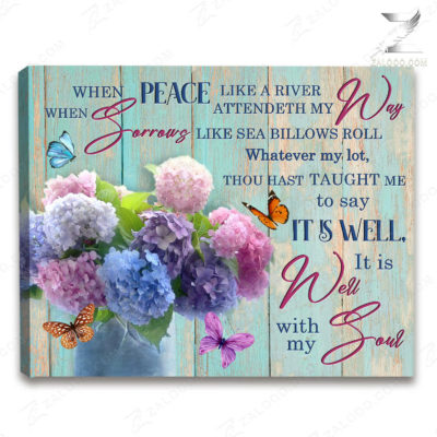 Zalooo Sympathy Canvas When Peace Like A River Butterfly Wall Art Decor